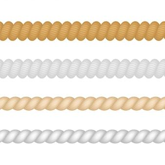 Nautique, marine, naval, ensemble de corde d'épaisseur de ficelle isolé. illustration.