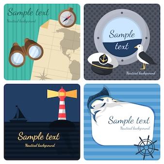 Nautique, mer, voyage, mini, affiches, ensemble, marin, voyage, croisière, vacances, isolé, vecteur, illustration
