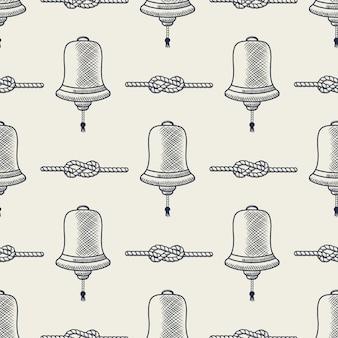 Nautique sans soudure. expédier les éléments de cloche et de corde. motif de la mer. croquis rayé de noeuds marins bleu marine, style dessiné à la main.