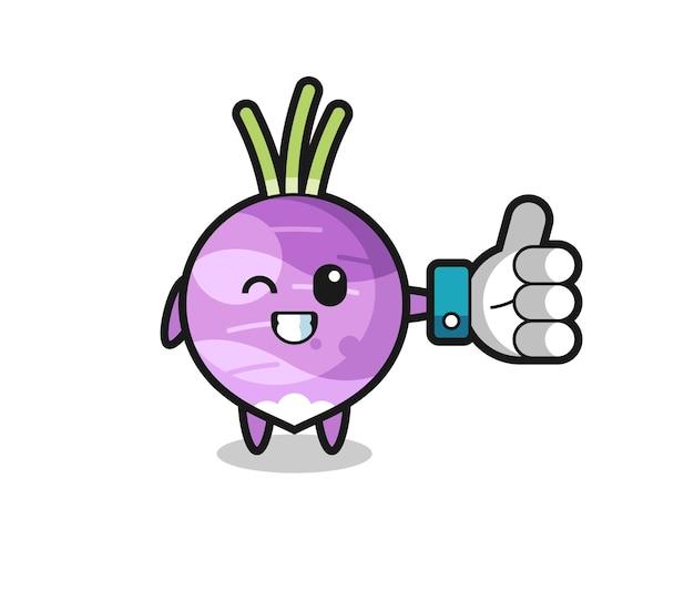 Navet mignon avec symbole de pouce levé sur les médias sociaux, design de style mignon pour t-shirt, autocollant, élément de logo