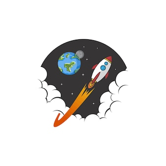 Navette d'exploration spatiale navire logo icône signe vecteur