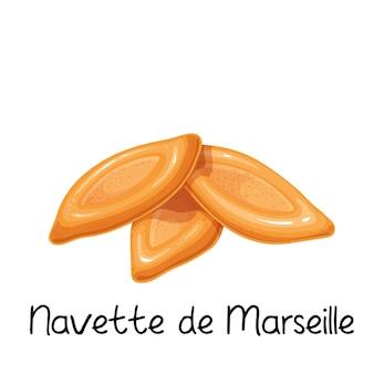 Navette de marseille, icône de cookies. illustration colorée de produit de boulangerie française.