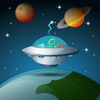 Navettes spatiales et fusée, voler, dans, près, planète