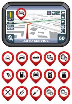 Navigateur gps avec le service automatique de pointeur.