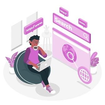 Navigation dans l'illustration de concept en ligne