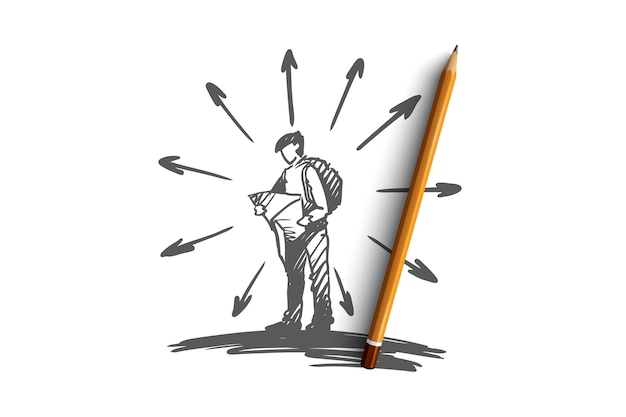 Navigation, emplacement, carte, route, concept de voyage. homme dessiné main avec carte dans les mains à la recherche d'un croquis de concept de bonne voie.
