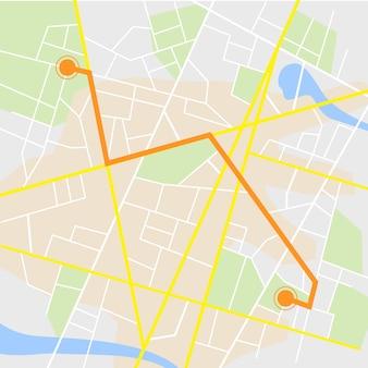 Navigation gps. feuille de route isolée sur blanc avec pointeur