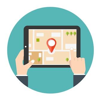 Navigation gps mobile. homme tenant une tablette
