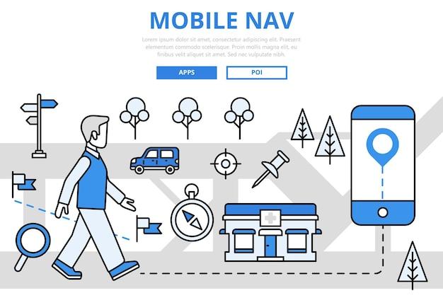 Navigation mobile gps géopositionnement technologie concept icônes d'art ligne plate.