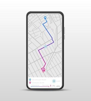 Navigation mobile. navigateur gps, application de carte d'itinéraire.