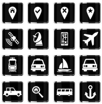 Navigation simplement jeu d'icônes vectorielles