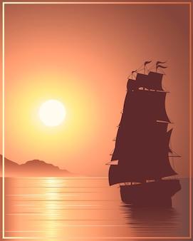Navire au coucher du soleil