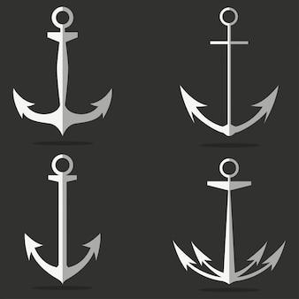 Navire et bateau ensemble de vecteur d'ancrage. élément pour la marine