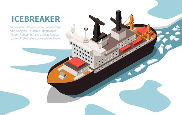 Navire brise-glace nucléaire puissant moderne dans l'eau couverte de glace isométrique