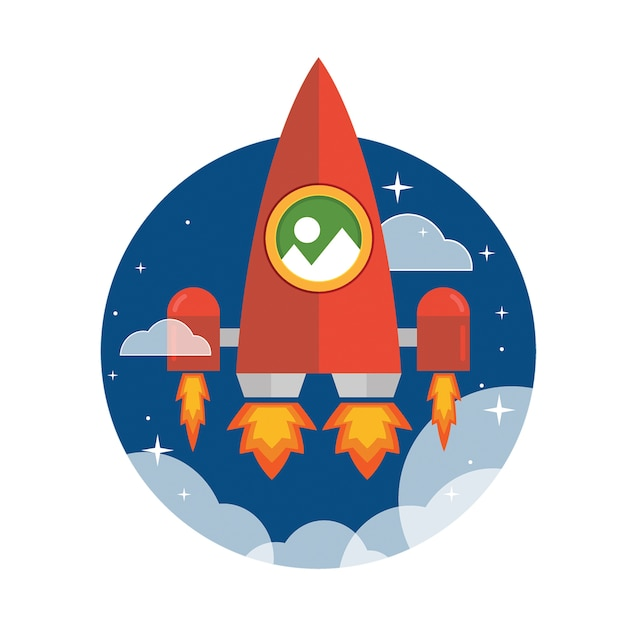 Navire à jet plat géant rouge lancé dans l'espace