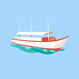 Navire de loisirs sur l'eau.