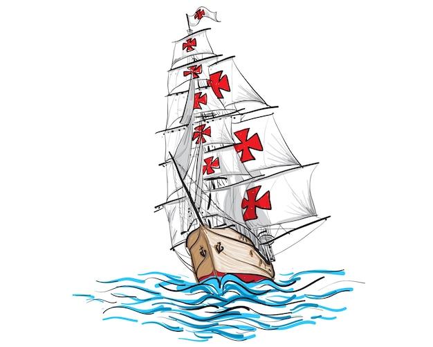 Navire main columbus dessiner et peindre sur fond blanc.