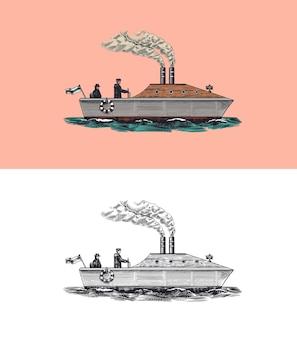 Navire à moteur avec marins navire de mer avec fumée de vapeur du voilier marin de tuyau
