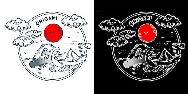 Navire origami logo minimaliste monoline pour badge tatto logo ou rétro vintage