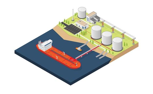 Navire pétrolier chargeant de l'huile dans le réservoir de stockage