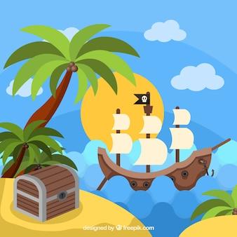 Navire pirate à côté d'une île avec un trésor