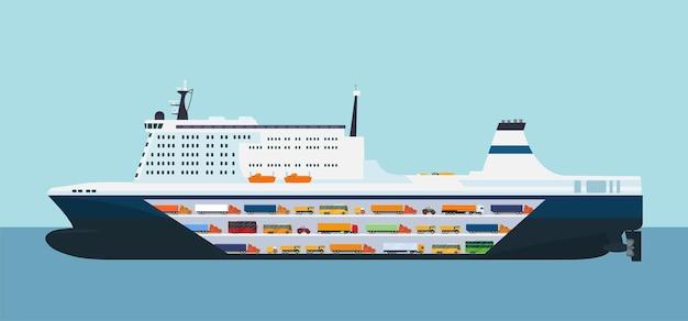 Navire transporteur roro isolé. illustration vectorielle.