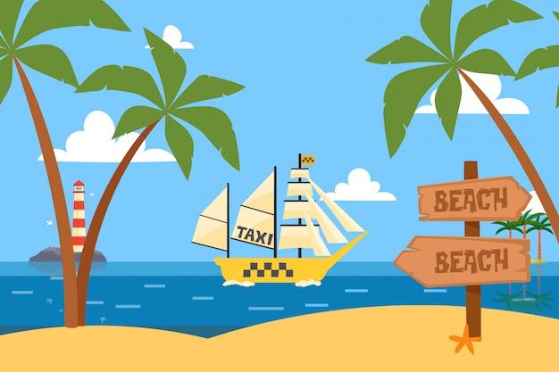 Navires en bouteille océan tropical taxi service illustration. bateau avec de grandes voiles légères de dessin animé, transport par étang clair