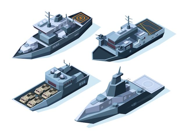 Navires de guerre isométriques. bateaux militaires isolés sur blanc
