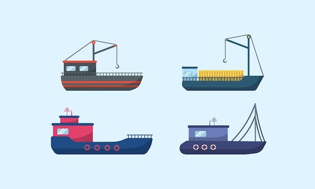 Navires à moteur de mer, voiliers océaniques, yachts et catamarans, transport maritime isolé. navires de mer traditionnels, collection de transport maritime. livraison bateau de croisière et voilier.