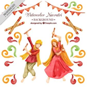 Navratri fond d'aquarelle de la danse traditionnelle