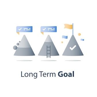 Ne jamais abandonner le concept, le sommet de la montagne, atteindre un objectif plus élevé, accomplir le défi, le niveau de la prochaine étape, un long chemin vers le succès, une pensée positive, un état d'esprit de croissance, surmonter les obstacles, des progrès réguliers