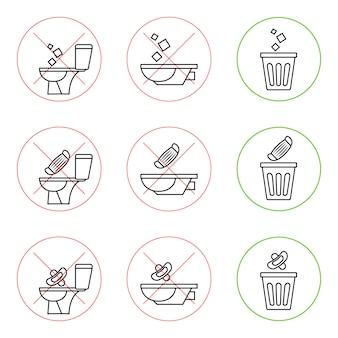 Ne jetez pas de déchets dans les toilettes. toilette pas de poubelle. garder le propre. veuillez ne pas rincer les serviettes en papier, les produits sanitaires, les masques médicaux. icônes d'interdiction. pas de détritus, symbole d'avertissement. icône interdite