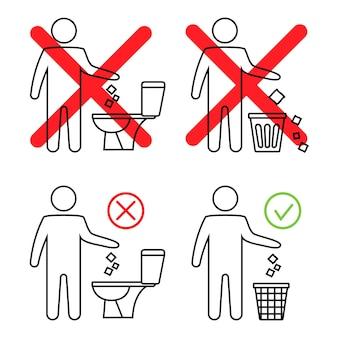 Ne jetez pas de déchets dans les toilettes toilettes sans déchets homme jetant des déchets dans les toilettes icône interdite