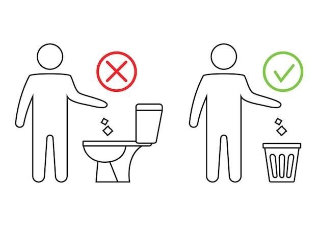 Ne jetez pas de déchets dans les toilettes toilettes sans poubelle ne tirez pas la chasse d'eau sur les serviettes en papier icône interdite