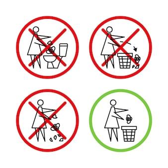 Ne Jetez Pas De Détritus Dans Les Toilettes Toilettes Pas De Déchets La Femme Jette Des Serviettes Hygiéniques Pancarte Interdite Vecteur Premium