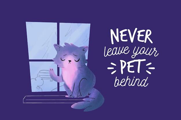 Ne laissez jamais votre animal de compagnie derrière l'illustration avec un chat