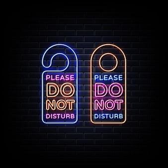 Ne pas déranger les enseignes au néon sur mur noir