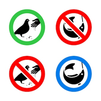 Ne pas nourrir les oiseaux et les panneaux d'interdiction de pêche