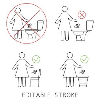Ne pas rincer les serviettes hygiéniques dans les toilettes ne pas jeter d'articles dans les toilettes veuillez ne pas tirer la chasse d'eau