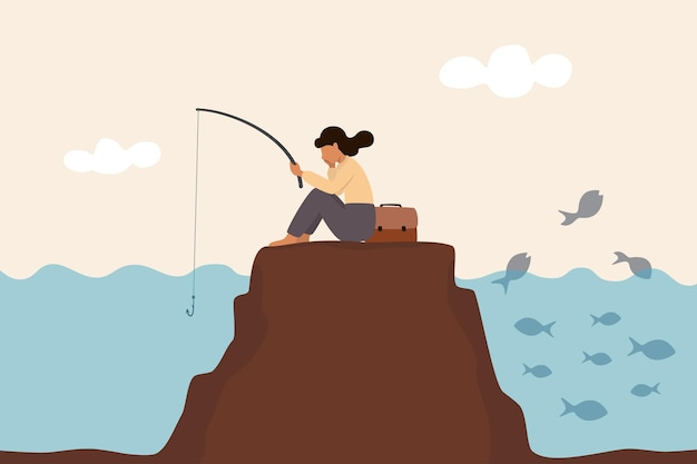 Ne pas voir l'opportunité, employé sans inspiration coincé pour trouver la créativité, la motivation, le succès ou le défi de l'entreprise, une femme ennuyée s'assoit aveuglément et pêche au mauvais endroit tout en ignorant l'opportunité de succès.