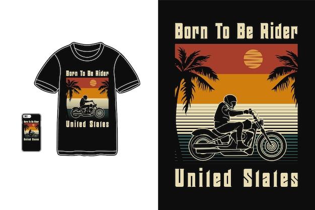 Né pour être cavalier états-unis t-shirt design silhouette style rétro