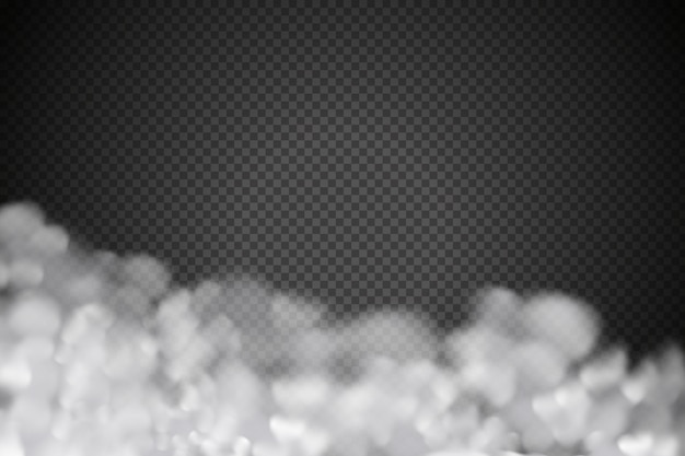 Nébulosité de vecteur blanc, brouillard ou fumée sur damier foncé.