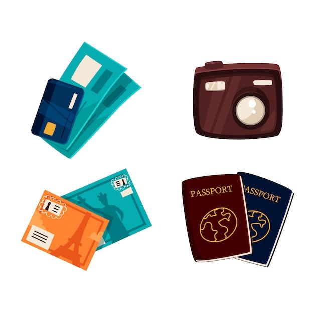 Nécessités touristiques, voyages, objets de vacances
