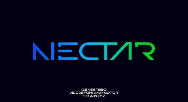Nectar, une police alphabet futuriste abstraite avec thème technologique. conception de typographie minimaliste moderne premium