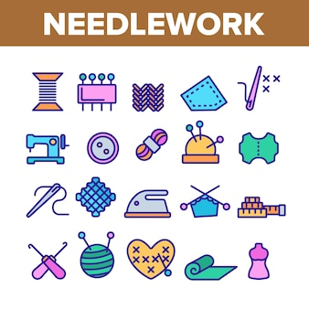 Needlework elements icons set