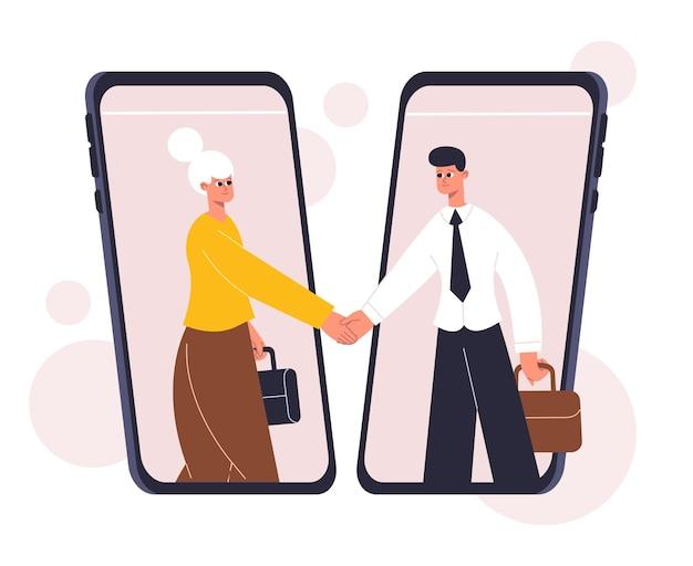 Négociation d'affaires en ligne, conclusion d'accords, concept d'accord. communication d'entreprise, illustration vectorielle de négociation réussie poignée de main. conclusion d'un accord commercial