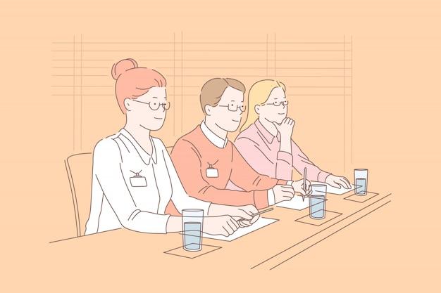 Négociation, jury, coopération, concept de discussion