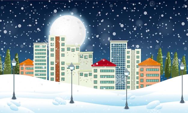 Neige dans la ville urbaine