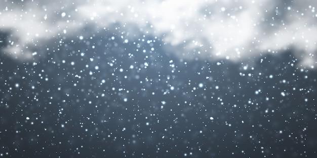 Neige avec des flocons de neige et des nuages sur fond transparent