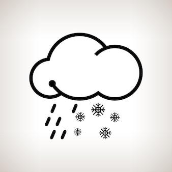 Neige fondue, nuage de flocons de neige et pluie sur fond clair, illustration vectorielle en noir et blanc